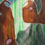 Moderne kunst, dyr, maleri malet af billedkunstner Lene Høffner, moderne kunst, dyr