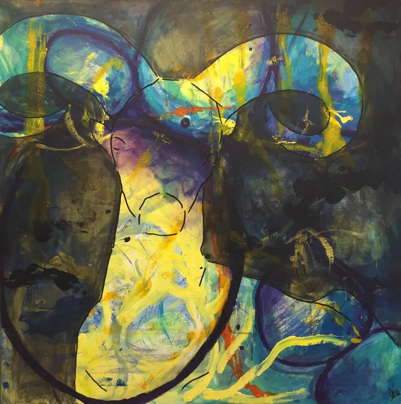 Moderne kunst, dyr, malet af Lene Høffner, Galleri Lykkelig, Svendborg