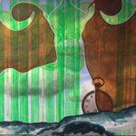 Moderne kunst, dyr, maleri, malet af billedkunstner Lene Høffner, Galleri Lykkelig, Svendborg, Fyn, Danmark