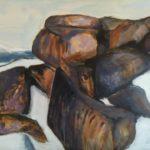 Maleri, Mount Shasta, Nevada Californien USA, malet af billedkunstner Lene Høffner, Galleri Lykkelig, Svendborg, Fyn, Denmark
